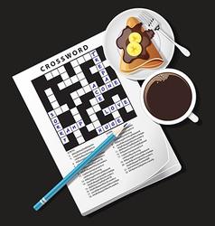 Crossword game mug of coffee and crepe vector