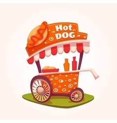Flat of hot dog cart vector
