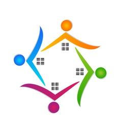 Houses teamwork logo real estate vector