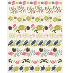 Set of lace paper with flower and leafs vector