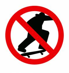 No skateboarding sign vector