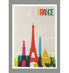 Travel france landmarks skyline vintage poster vector