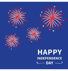 Fireworks dark sky happy independence day vector