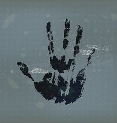 Hand print with vintage background vector