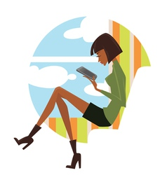 Fashionable reading young woman looking in pad vector
