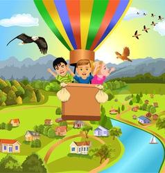 Children flying with balloon vector