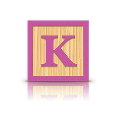 Letter k wooden alphabet block vector