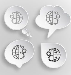 Globe and gear white flat buttons on gray vector