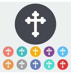 Cross single icon vector