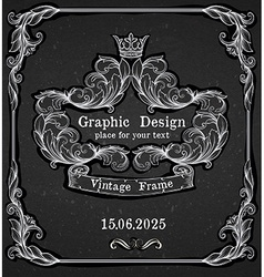 Black chalk board template vintage frame vector