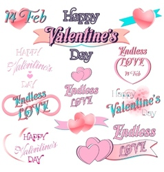 Set of valentines day decorative elements vector