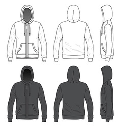 Front back and side views of blank hoodie with vector
