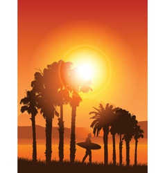 Surfer in tropical landscape vector