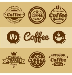 Coffee labels and badges retro style coffee vector