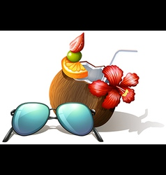 A refreshing drink and a sunglasses for a beach vector