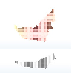 Map of united arab emirates with dot pattern vector