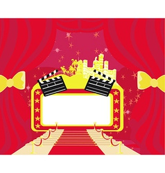 Red carpet hollywood premier abstract cardmovie vector