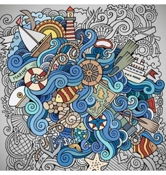 Doodles marine nautical background vector