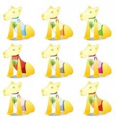 Dogs in pet clothing set vector