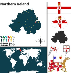 Northern ireland map world vector