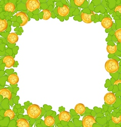 Border with clovers and golden coins for st vector