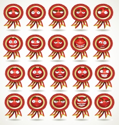 Set of red awards in various emotional states vector
