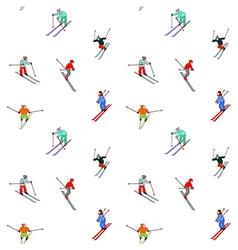 Happy skiers vector