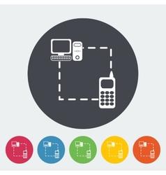 Phone sync single flat icon vector