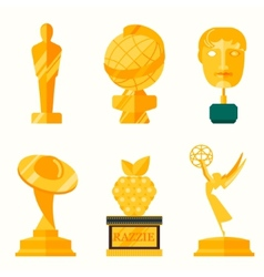 Flat design of set award success and vector