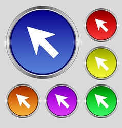 Cursor arrow icon sign round symbol on bright vector