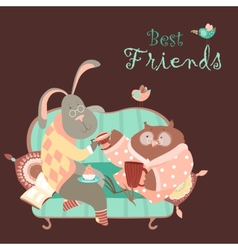 Rabbit and owl drink coffee on the couch vector
