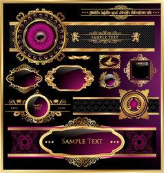 Vintage black gold and pink frame label vector