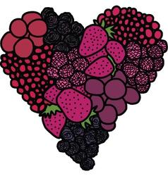 Heart of berries vector