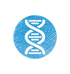 Dna icon with hand drawn lines texture vector