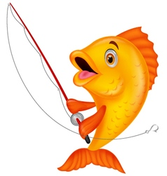 Cute fish holding fishing rod vector