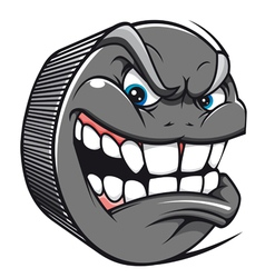 Angry hockey puck mascot vector