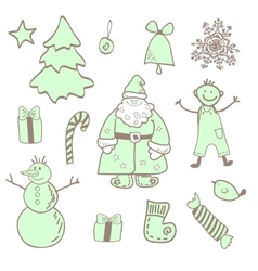 Fun christmas icons with a boy vector
