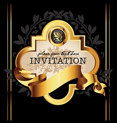 Golden royal lable on black background vector