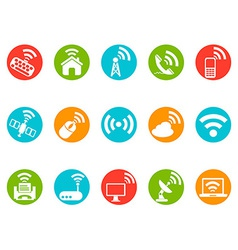 Wireless commuication button icons set vector