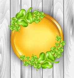 Golden coin with shamrocks st patricks day symbol vector