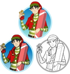 Christmas elf asian boy with gift set vector