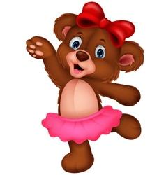 Cartoon baby bear dancing vector