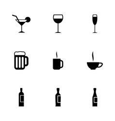 Black beverages icon set vector