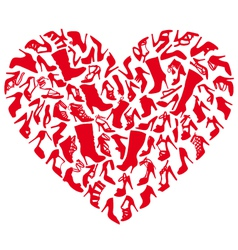 Red shoe heart vector