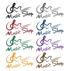 Set of music shop emblems vector
