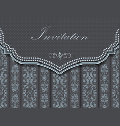 Invitation or wedding card with damask background vector