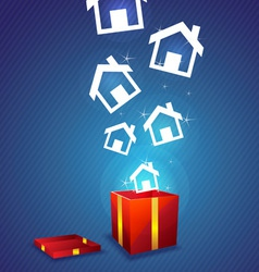 House floating from gift box vector