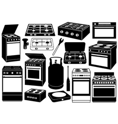 Stove set vector
