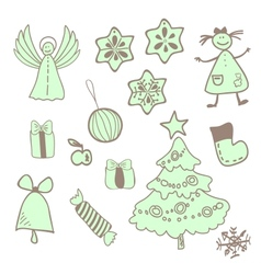 Fun christmas icons with a girl vector