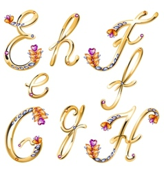 Bronze alphabet with colored gems letters efgh vector
